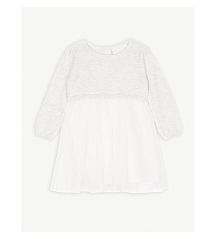 THE LITTLE WHITE COMPANY Knitted tulle dress 0-24 months (Ecru