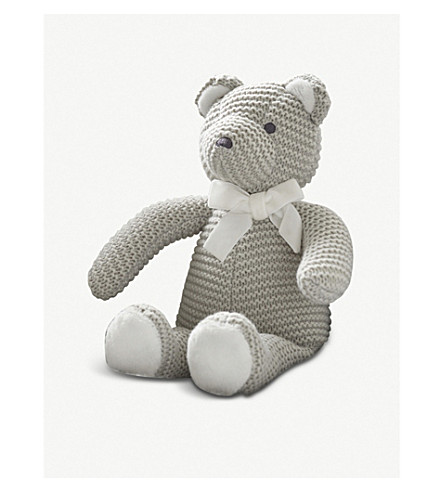 THE LITTLE WHITE COMPANY Knitted teddy bear 30cm (Grey