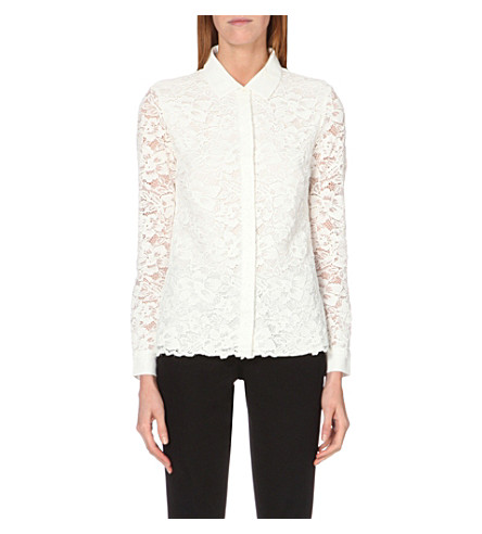 THE WHITE COMPANY Collar-detail floral-lace blouse (Ivory