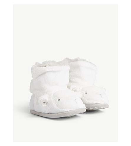 THE LITTLE WHITE COMPANY Lamb booties 0-24 months (White