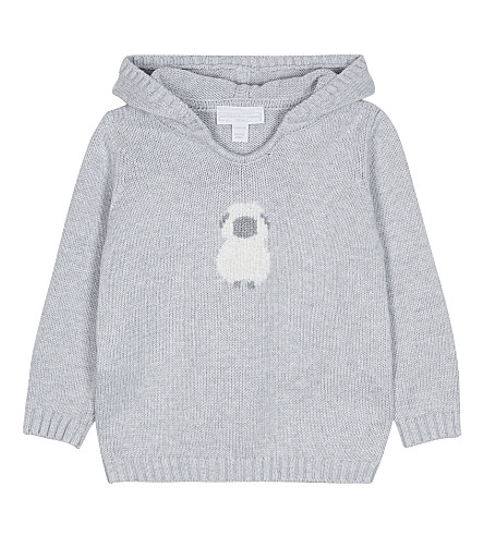 THE LITTLE WHITE COMPANY Embroidered lamb motif cotton hoody 0-24 months (Soft+grey
