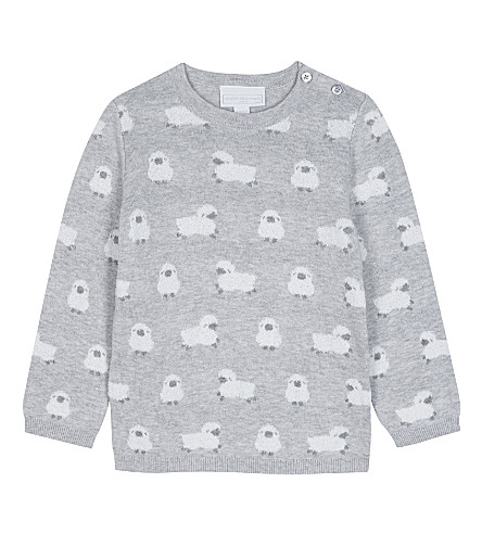 THE LITTLE WHITE COMPANY Jacquard lambs motif cotton-blend jumper 0-24 months (Soft+grey
