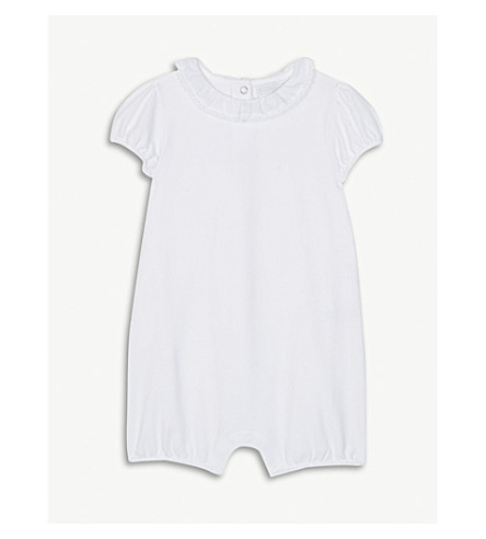THE LITTLE WHITE COMPANY Lace collar cotton-blend bodysuit 0-24 months (White