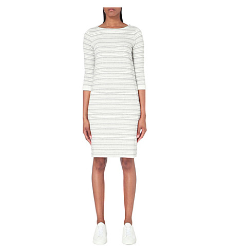 THE WHITE COMPANY Loop back stripe jersey dress (Grey