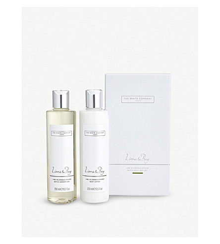 THE WHITE COMPANY Lime & bay bath & body set 2 x 250ml (No+colour