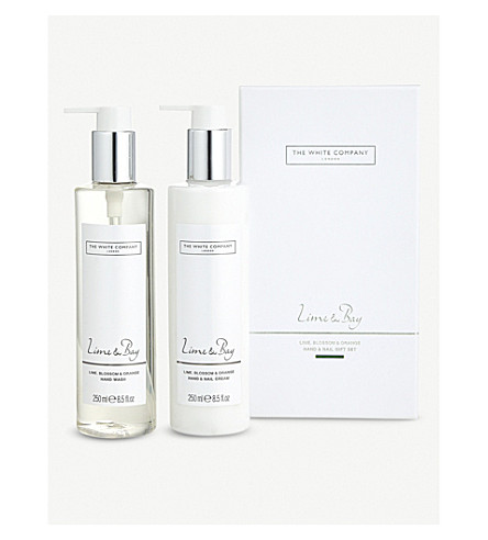 THE WHITE COMPANY Lime & Bay scented Hand & Nail gift set 2 x 250ml (No+colour