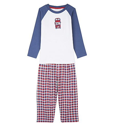 THE LITTLE WHITE COMPANY London bus appliqué cotton pyjamas 1-6 years (Multi