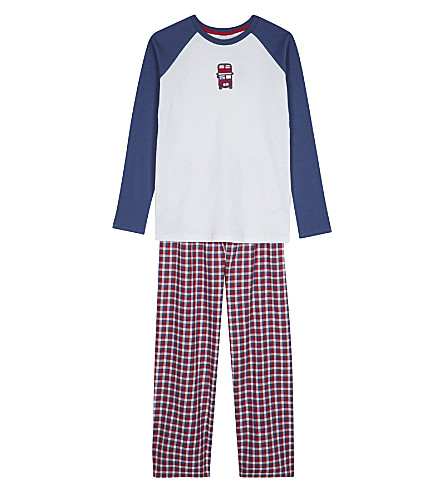 THE LITTLE WHITE COMPANY London bus appliqué cotton pyjamas 7-12 years (Multi