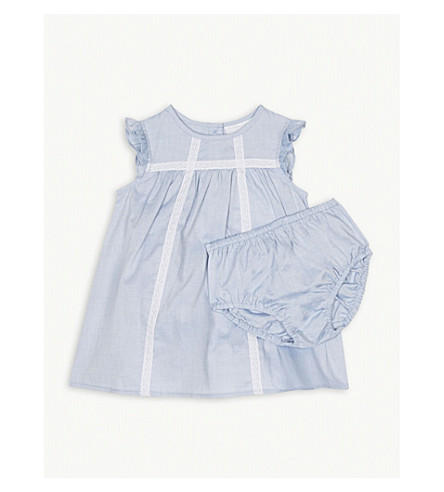 THE LITTLE WHITE COMPANY Lace trim cotton dress and knickers 0-24 months (Blue