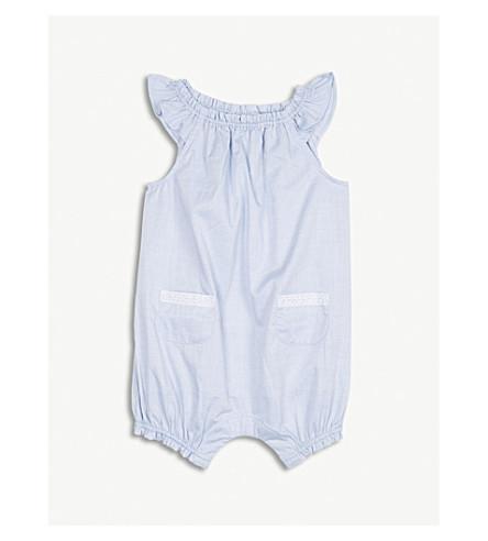 THE LITTLE WHITE COMPANY Lace trim cotton shortall 0-24 months (Blue
