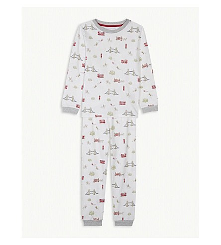 THE LITTLE WHITE COMPANY London print cotton pyjamas 1-6 years (Blue