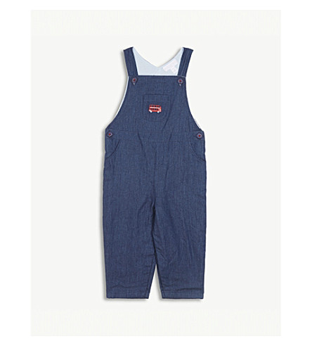 THE LITTLE WHITE COMPANY London cotton dungarees 0-24 months (Indigo