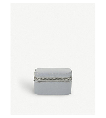 THE WHITE COMPANY Leather trinket & cufflink box (Grey