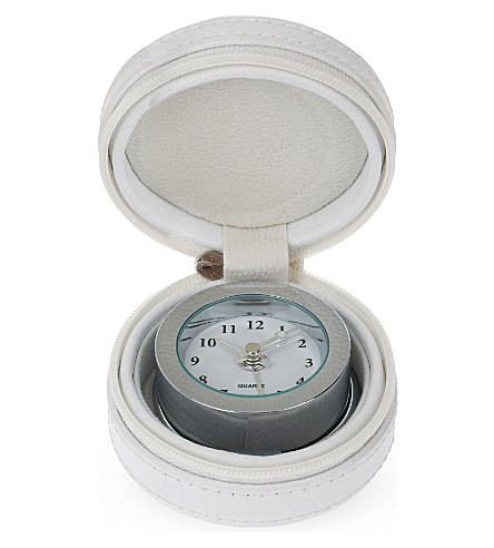 THE WHITE COMPANY Leather travel clock (White