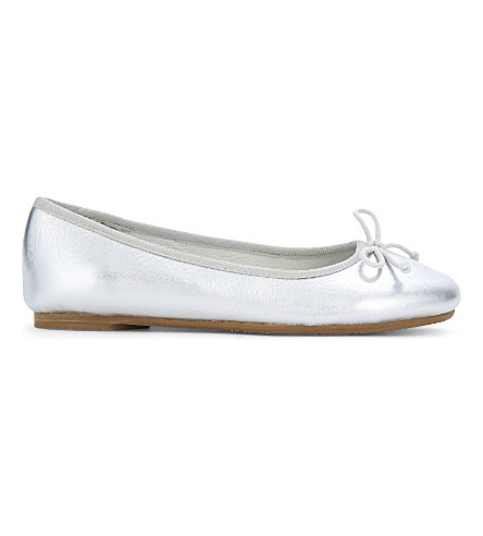THE LITTLE WHITE COMPANY Leather ballet flats 0-7 years (Silver