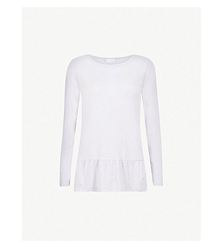 THE WHITE COMPANY Frill-hem linen top (Chalk+blue
