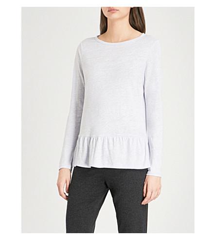 THE WHITE COMPANY Frill-hem linen top (Chalk+blue