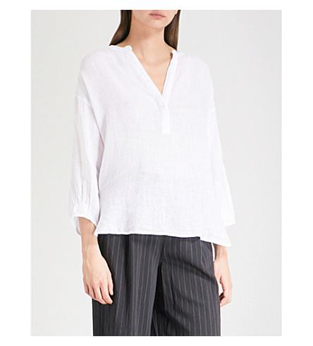 THE WHITE COMPANY Blouson-sleeve linen blouse (White