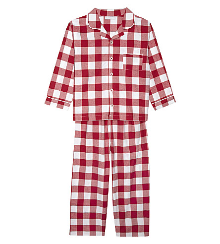 THE LITTLE WHITE COMPANY Gingham cotton pyjamas 1-6 years (Post+box+red