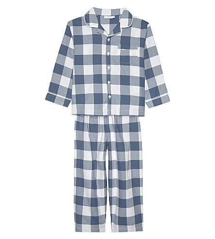 THE LITTLE WHITE COMPANY Flannel cotton pyjamas 3-4 years (Moonlight+blue