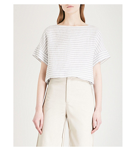 THE WHITE COMPANY Striped boat-neck linen T-shirt Eucalyptus Sale 2018 Discount Excellent Buy Cheap Low Shipping Order Online 5AGUw