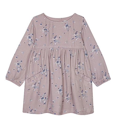 THE LITTLE WHITE COMPANY Floral pleated dress 1-6 years (Pink
