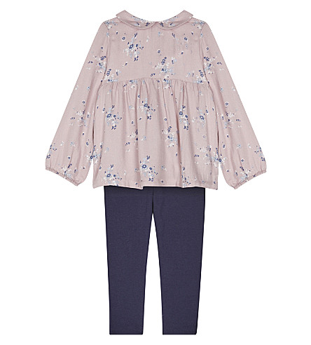 THE LITTLE WHITE COMPANY Floral top and leggings set 1-6 years (Pink