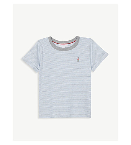 THE LITTLE WHITE COMPANY Little solider cotton T-shirt (Denim+blue+marl