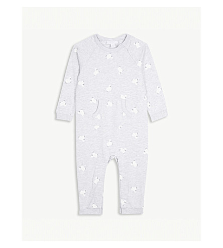 THE LITTLE WHITE COMPANY Little lamb cotton romper 0-24 months (Grey