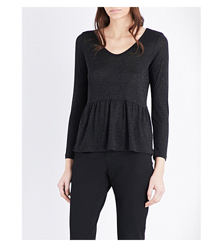 THE WHITE COMPANY Peplum-hem metallic-knit sweater (Black