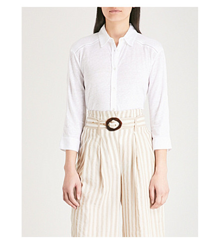 THE WHITE COMPANY Embroidered-trim linen shirt (White