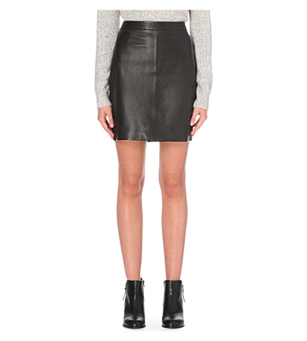 THE WHITE COMPANY High-rise mini leather skirt (Black
