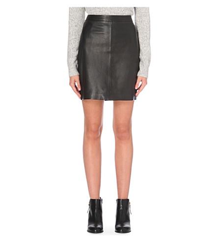 THE WHITE COMPANY High-rise mini leather skirt (Black