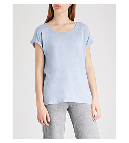 THE WHITE COMPANY Rolled-cuff linen-jersey T-shirt (Pale+blue