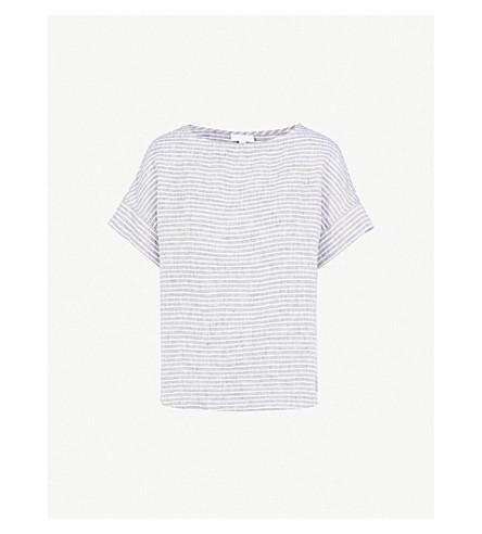 THE WHITE COMPANY Boat-neck striped linen T-shirt (Indigo