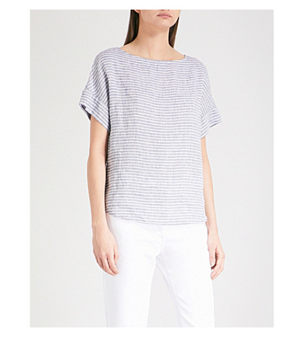 THE WHITE COMPANY Boat-neck striped linen T-shirt (Indigo