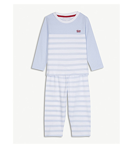 THE LITTLE WHITE COMPANY London bus striped cotton pyjamas 1-6 years (Blue