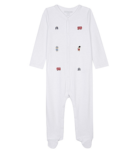 THE LITTLE WHITE COMPANY Embroidered London cotton sleepsuit 0-24 months (White