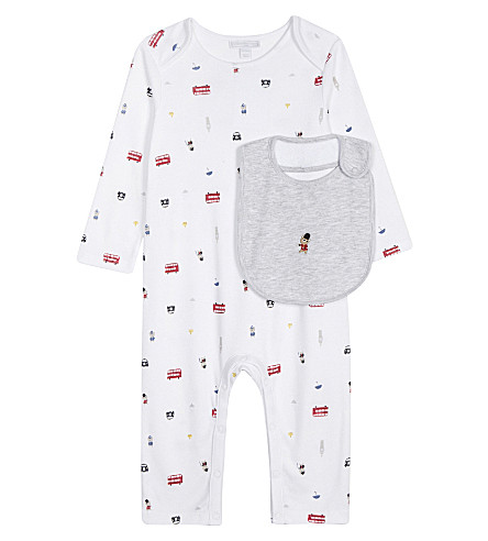 THE LITTLE WHITE COMPANY London print cotton sleepsuit and bib set 0-24 months (Multi