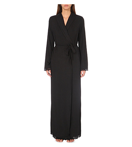THE WHITE COMPANY - Lace-trim jersey dressing gown | Selfridges.com