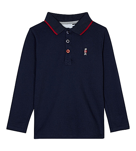THE LITTLE WHITE COMPANY Piqué cotton long-sleeved polo shirt 1-6 years (Navy