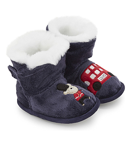 THE LITTLE WHITE COMPANY London slipper boots 0-24 months (Navy