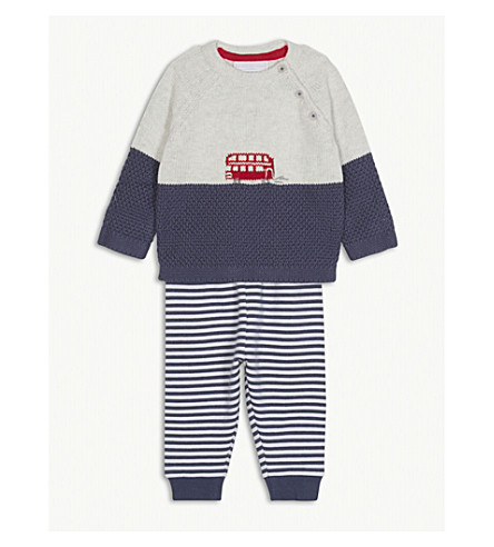 THE LITTLE WHITE COMPANY London Bus jumper and striped jogging bottoms set 0-24 months (Multi