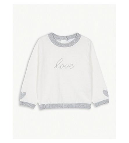 THE LITTLE WHITE COMPANY Love metallic cotton-blend jumper 0-24 months (Winter+white