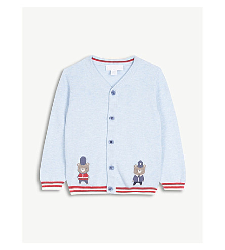 THE LITTLE WHITE COMPANY London patrol knitted cotton cardigan 0-24 months (Cashmere+blue
