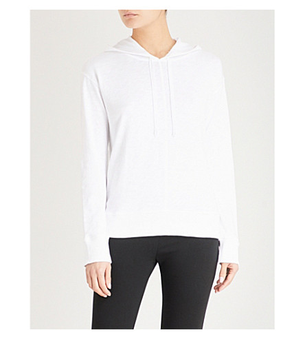 THE WHITE COMPANY Ribbed-trim cotton-jersey hoody (White