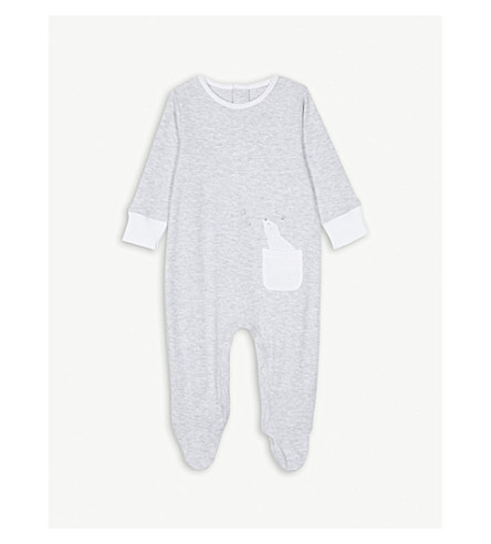 THE LITTLE WHITE COMPANY Lumi print cotton sleepsuit 0-24 months (Grey+marl