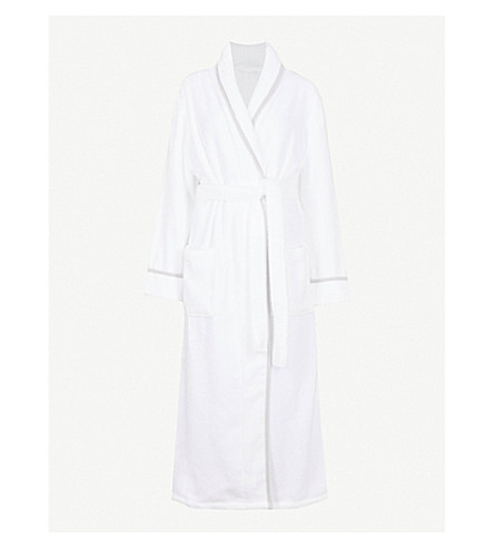 THE WHITE COMPANY Shawl-collar hydrocotton robe (White/grey