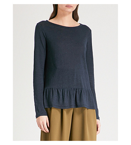 THE WHITE COMPANY Frilled-hem linen top (Navy