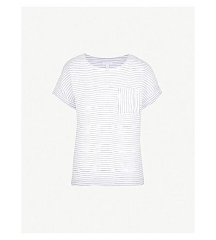 THE WHITE COMPANY Striped chambray-linen T-shirt (White/navy